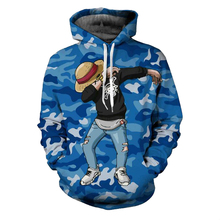 2017 Funny Cartoon Hoodie One Piece Luffy Hooded Camouflage Coat 3D Printed Anime Cosplay Hoodies & Sweatshirts Pullovers
