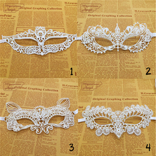 5Pcs/Lot White Hard Lace Mask Party Sexy Mask Lace Mask Masquerade Mask Dress Venetian Carnival free shipping(China)