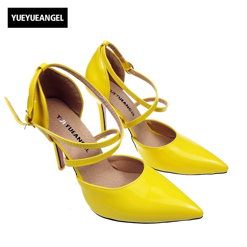 New Elegant  High Thin Heels Pointed Toe  Ladies Dress Shoes Shallow Ankle Buckle Strap yellow Color  Womens Pumps Plus Size<br>