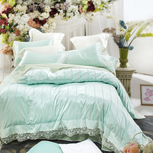 Light green tencel duvet cover set for adults,lace duvet cover satin bed sheets soft pillow case,queen king size bedding set