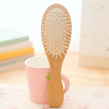 Natural Anti-Static Wood Paddle Pointed Handle Rainbow Teeth Human Massage Hair Brush Black Spa Cushion Comb(China)