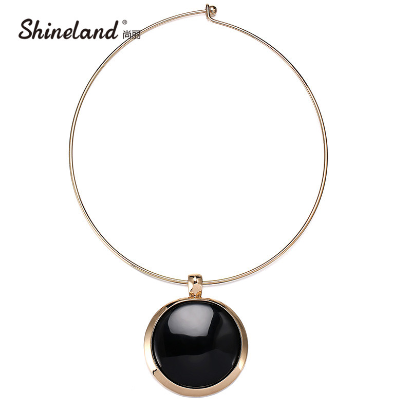 Shineland Unique Design Collar Choker Necklace Women Accessories Charm Torque Big Circle Black Resin Pendants Statement Jewelry