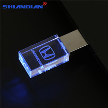 SHANDIAN Crystal flash Light memory stick Honda logo USB 2.0 4GB 8GB 16GB 32GB 64GB Flash Memory Stick Metal Pen Drive Gifts(China)