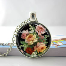Vintage Necklace Vintage Floral Necklace Vintage Floral Flower Glass Tile Necklace Pendant Glass Dome Necklace HZ1