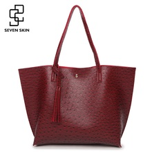 SEVEN SKIN Brand Ostrich print leather handbags women's large shoulder bag tassel female casual Tote Bags for women sac a main