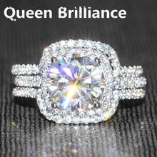 Queen Brilliance 3 Ct No Less Than GH Color Engagement&Wedding Lab Grown Moissanite Diamond Ring Set Genuine 14K White Gold