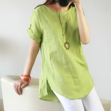 Fashion Women Blouse Flaxen Solid Color Short Sleeves Shirt Summer Ladies Girls Blouses Loose Casual Tops Plus Size Blusas