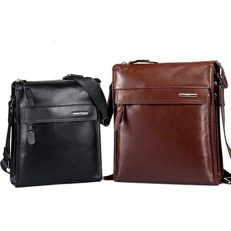 Pabojoe Genuine Leather Messenger Bag Flap Style Men Solid Bag Fashion Shoulder Bag<br>