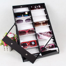TSSAAG 16pcs/18pcs Sunglasses Reading Glasses Show Stand Holder Eyewear Display Stand HolderStorage Box Case-Black + White(China)