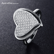 ANFASNI New Arrival Heart Rings Silver Color Fashion Female Element Rings For Bridal  CRI0212-B