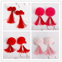 Chinese Wool Ball Tassel Hair Clips Red Hairband Head Band Happy New Year Hairpin Hand Made Rim Hair Accessories Hair Bows