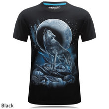 2017 Men's brand clothing Moonlight wolf tee shirt animal Creative T-shirt funny 3D Inkjet personality Printed t shirt Homme