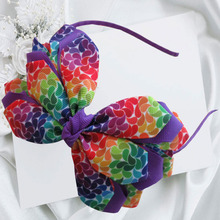 "Hand Customize Free Shipping 14pcs New Arrival Three layers Colorful rainbow class flower leaves Headband 4.5-5"" Angel Wing Bow"