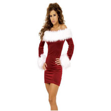 Fashion Sexy Adult Christmas dress Miss Santa Red Velvour Cosplay Suits Cheap christmas party costume women clothes(China)