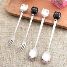 1pc Cartoon Cute Cat Fork Stainless Steel Long Handle Stirring Spoon Fruit Fork Coffee Spoon Ceramic Handle QB976592(China)