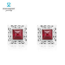STAR HARVEST 925 Sterling Silver Rhodium Plated Designer With Red Glass/Black Glass/Turquoise Earrings Stud Gift E-0052