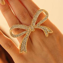 2017 The Most Products Full Crystal  Lady Women's Hot Lovely Flower Bow Rosette Ring LM-R052