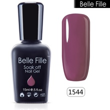BELLE FILLE 15ml UV salon gel nail polish Glitter nontoxic gel manicure permanent varnishes DIY Paint Nail Art fingernail polish(China)
