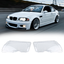New 1 Pair Car Headlight Cover Headlight Lens Shell Cover Case Lamp Assembly Fit For E46 BMW Coupe 2-Door 1999-2002 Pre-Facelift