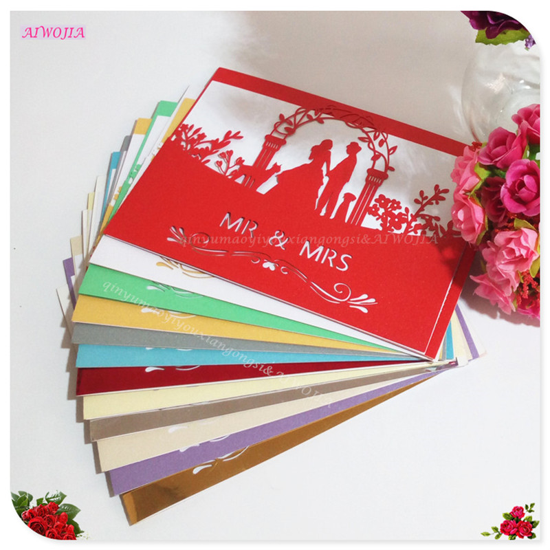 10 pcs Laser Cut Bride and Groom Wedding Invitations Cards Greeting Cards 3D Cards Postcard Wedding Decoration 5ZSH070(China)
