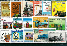 Lot 100pcs World Steam Train Original Stamps with Postage Mark No Repeat Nation Stamp Good Condition