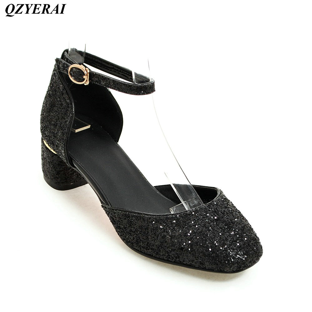 QZYERAI The In the summer of 2018 the new chunky ladies sandals bag and buckles European sexy womens shoes big size 34-43<br>