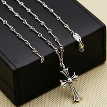 2017  Fish Bone Chain Cross Necklace 100% Real 925 Sterling Silver Pendant Necklace for Men Women OL Jewelry ZN2