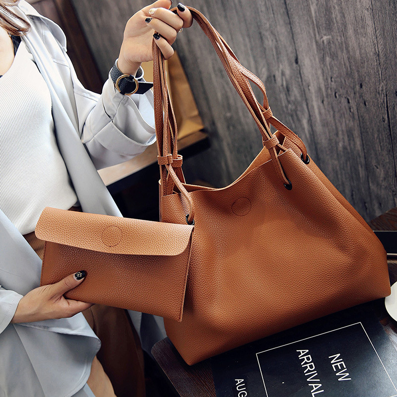 2017 Fashion Hobos Women Brand Leather Handbags Ladies Spring Casual Tote Big Shoulder Bags for Woman Composite Bag Bolso Mujer(China)