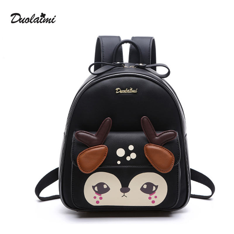 DouLaiMi Fashion Women Backpack Newest Stylish Cute Black PU Leather Deer Backpack Female Hot Sale Women Shoulder Bag School Bag<br>