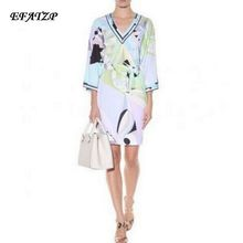 Luxury Brand Runway Dress Women's V-Neck Colorful Geometric Print Color Block Jersey Silk Casual Dress With Sashes