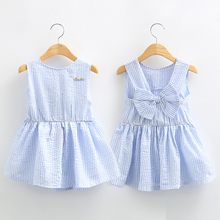 Neat Classic Plaid Baby Girls Dresses Summer Sleeveless Girl Dress with Bowknot Casual Girls Clothes Toddler Girl Clothing Q001