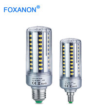 Foxanon Full Aluminum Cooling E27 E14 5W 7W 9W 15W 20W 25W LED Corn light lamp No Strobe AC85-265V 5736SMD LED Spotlight Bulb(China)