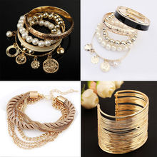 Fashion Charm Multilayer Bracelet for Women 6 Style Gold Rhinestone Bangle Jewelry Cuff Bracelet HOT Selling