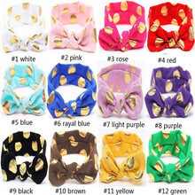 Wholesale 120pcs Cotton Gold Dot Headband Girls Knotted Head Wraps Jersey Knit Headwraps Newborn Kids Hair Accessories