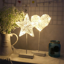 LAIDEYI 40CM Star Heart Shape Grass Rattan Woven LED Night Light Battery Power Girls Bedroom Decorative Table Lamp Kids Gift Toy(China)