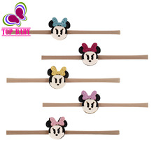 Newborn Boys Headwear Sweet Little Girls Minnie Bows Headband WIth Boutique Nylon Hair Bands Accessories 4Pcs/lot