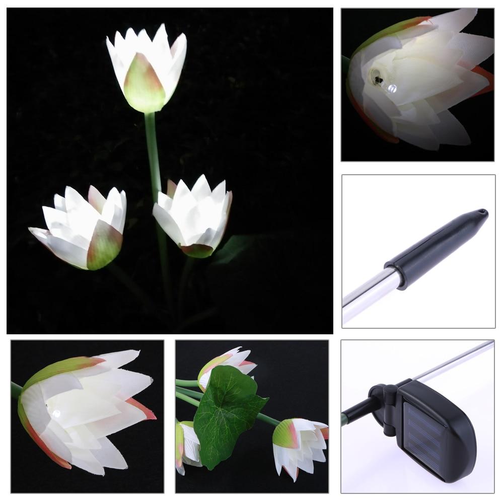 Solar Power Lotus Flower 3 LED Lamps Waterproof Garden Pool Floating Solar Garden Light for Pond Fountain Decoration 8