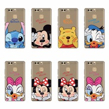 TPU Silicone Cases For Huawei P8 P9 G9 Lite Plus P7 Winnie Pooh Stitch Daisy Donald Duck Minnie Mickey Mouse Cartoon Case Covers