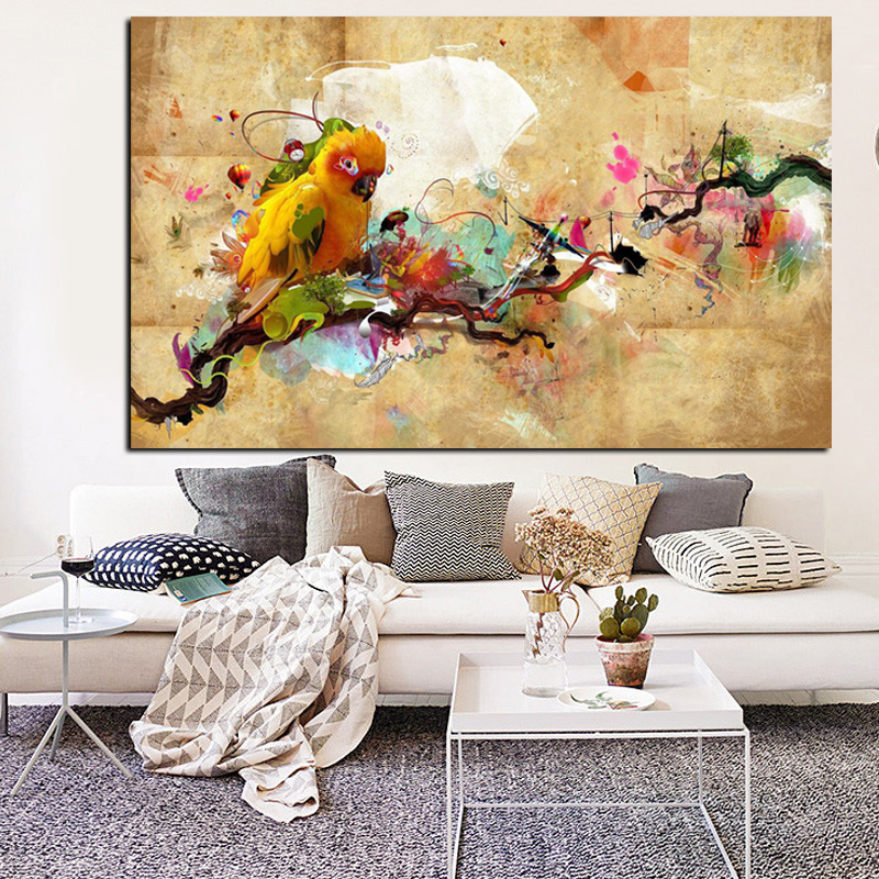 YWDECOR HD Print Artistic Paint Parrot Bird Oil Painting on Canvas Modern Abstract Wall Painting For Living Room Cuadros Decor (6)