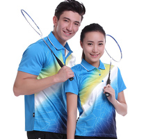 2017 Sportswear Quick Dry breathable badminton shirt,Women/Men table tennis blue clothes team game short sleeve POLO T Shirts