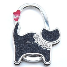 Foldable Folding Table Cat Purse Rhinestone Hanger Hangbag Hook Holder Gift(China)