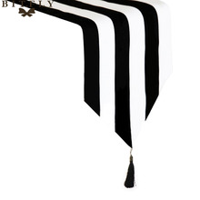 Modern Striped Pattern Table Runner Black & White Geometric Table Topper hotel bed runner Home Decor table cloth tassel(China)