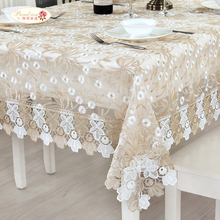 European Elegant Lace Embroidered Table Cloth Glass Yarn Tea Table Cloth Round Tablecloth Modern Adornment Table Runner