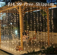 Free Shipping 3Mx3M 300LED Curtain Icicle led String Lights ChristmasNew Year Wedding Party decorative outdoor Lights 220V EU(China)