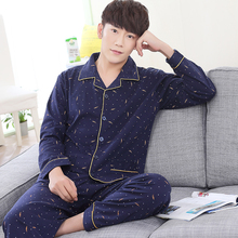 High quality long-sleeved male pajamas cotton thicken Dark blue pyjama homme men sleepwear plus size XXXL casual tracksuit suit