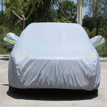 New 3XXL Large Size Thickened Waterproof Lint Cotton Car Cover Indoor Outdoor Sun Rain Dust UV Rays Protect Cover Gray(China)