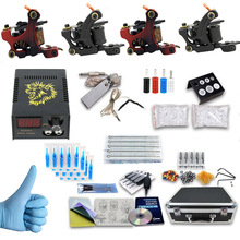 ITATOO Complete Tattoo Set 4 Gun Tattoo Machine Set with Carry Case Tattoo Power Supply Clip Cord Pedal Needle Tips PX110018