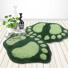 Hot Sale 16 x 24 inch Green Color Cute Big Foot Printed Bath Carpet For Bathroom and Toilet Floor Rug