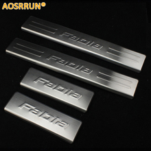 AOSRRUN Scuff plate stainless steel door sill car accessories for Skoda fabia 2008 2009 2010 2011 2012 2013 2014 2015(China)