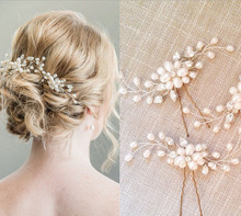 Metting Joura Wedding Party Romantic Handmade Pearl Flower Hair Pin Hair Stick Hair Accessories Bride Hair Jewelry